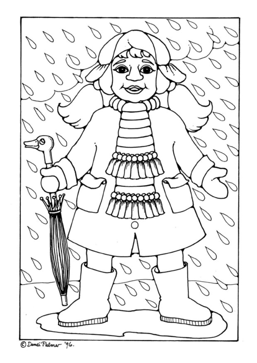 Coloring page rain