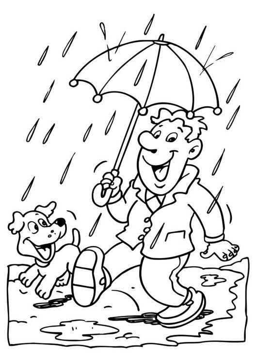 Coloring page rain - rainy day