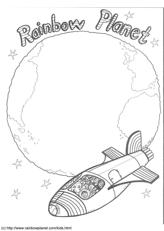 Coloring page rainbow planet