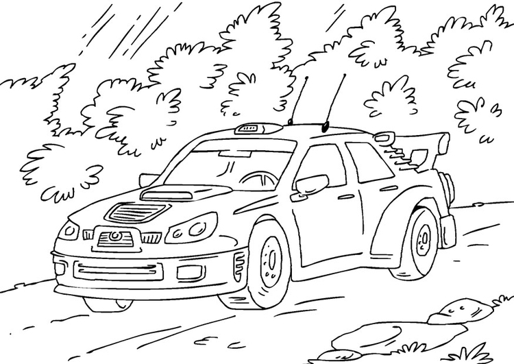 Coloring page rally car