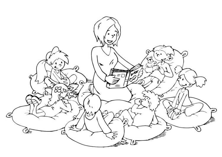 Coloring page read aloud corner
