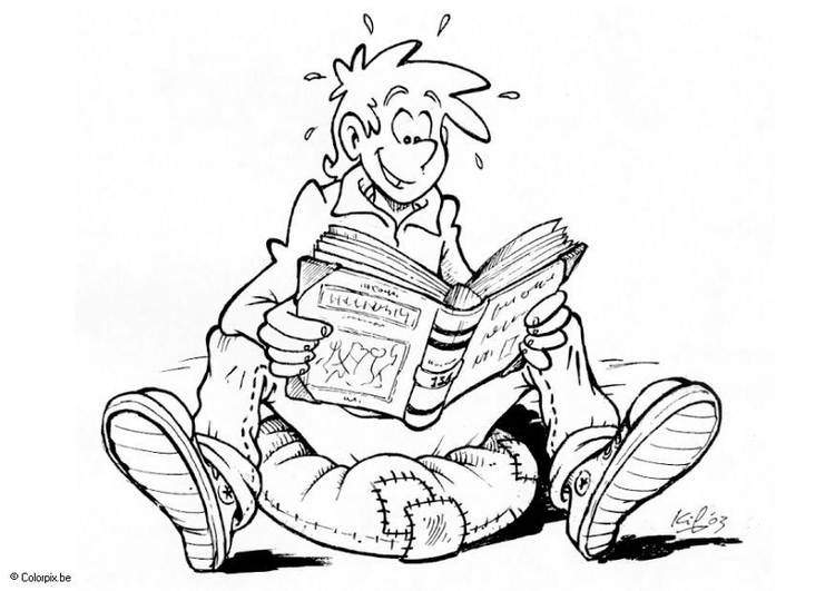 Coloring page reading a book