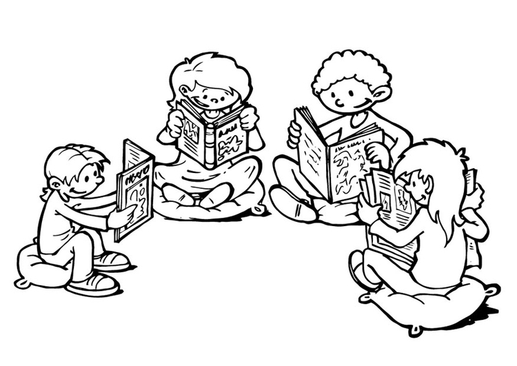Coloring page reading corner