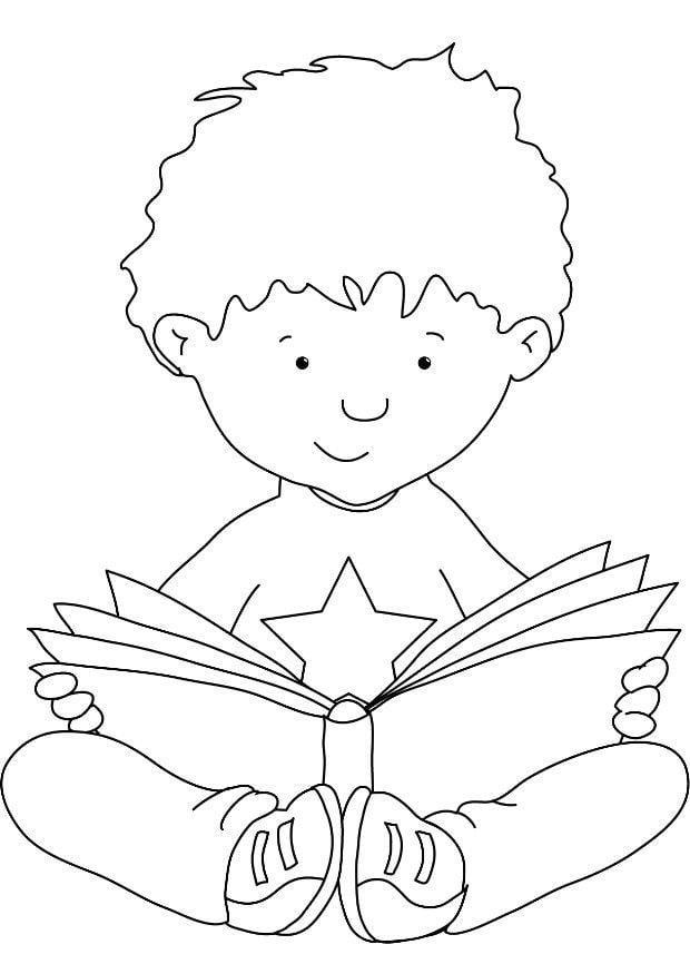 Картинка читающего ребенка раскраска