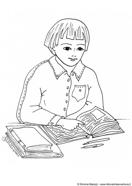 Coloring page reading