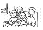 Coloring pages reading family