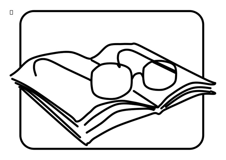 Coloring page reading glasses
