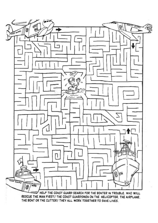 Coloring page recue mission maze