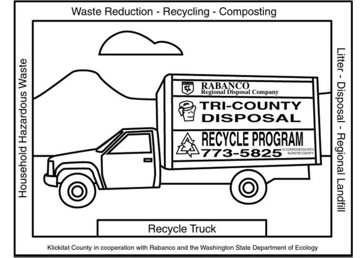 Coloring page recycling truck