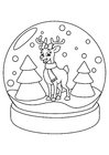 Coloring page reindeer in Christmas globe