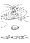 Coloring page Rescue mission with helicopter