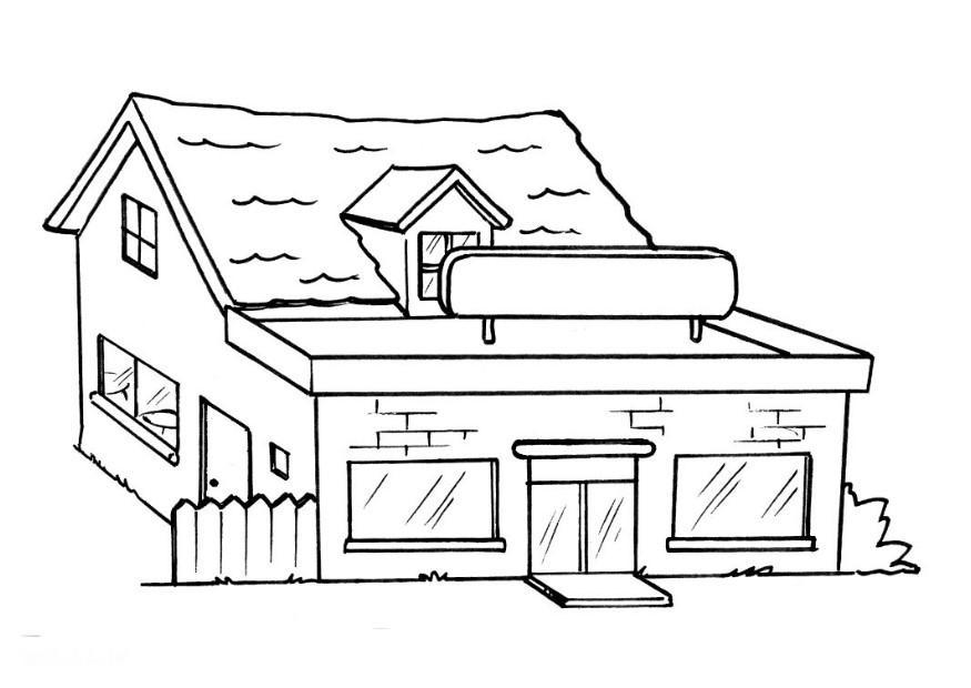 Coloring page restaurant without text img 8203 Coloring book cafe