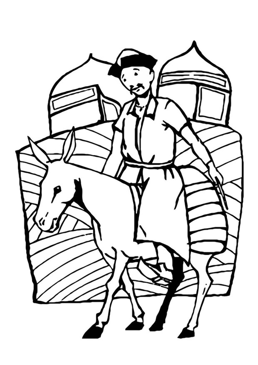 Coloring page rider Mongolia
