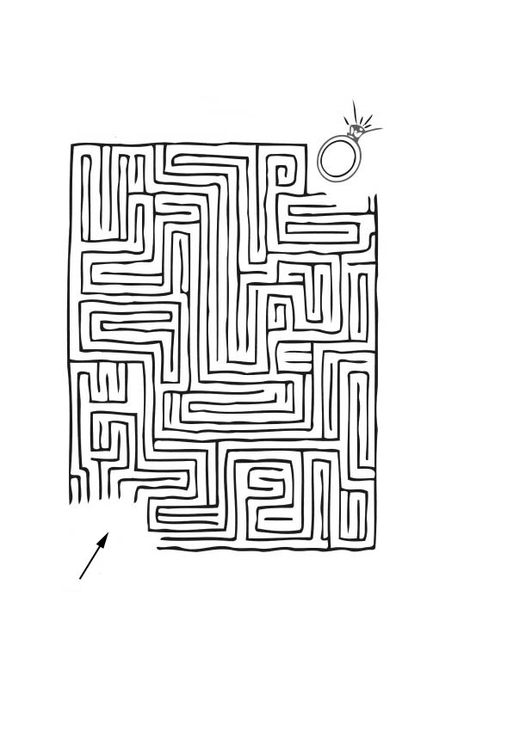 Coloring page ring maze