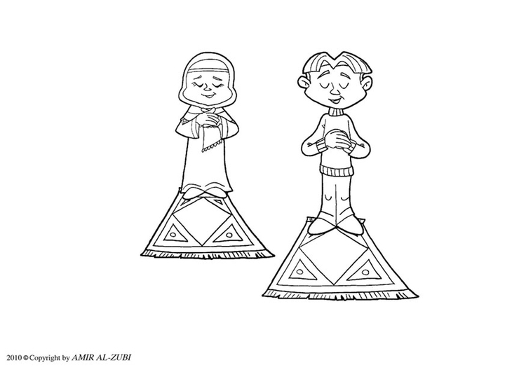 Coloring page ritual prayer - salat