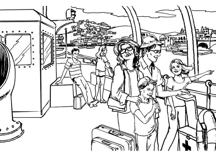 Coloring page river boat trip