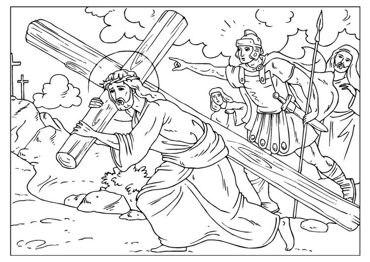 Coloring page road to Calvary