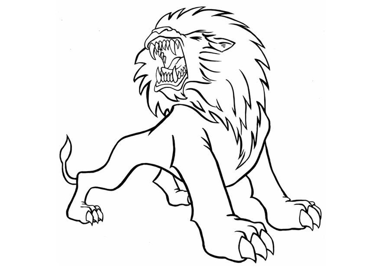Coloring page roaring lion