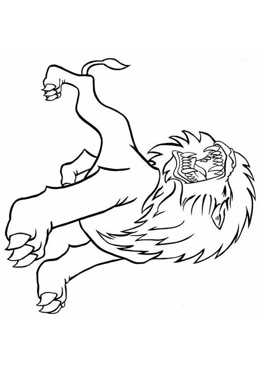 Coloring page roaring lion img