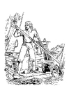 Coloring pages Robinson Caruso shipwreck