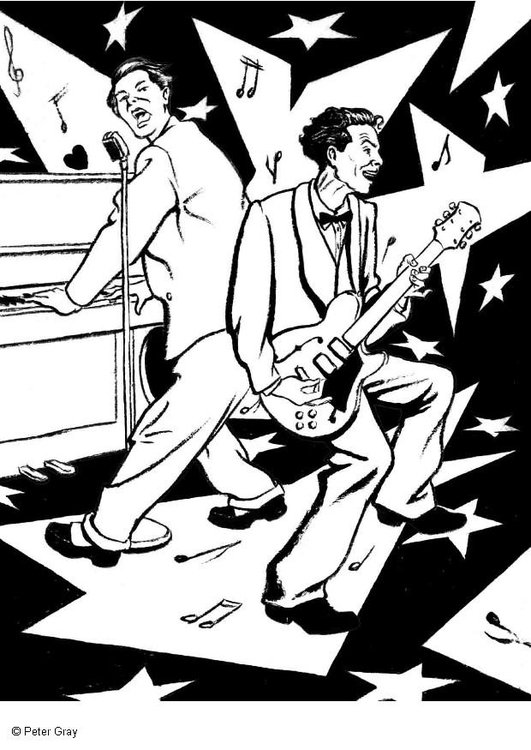 Coloring page rock and roll