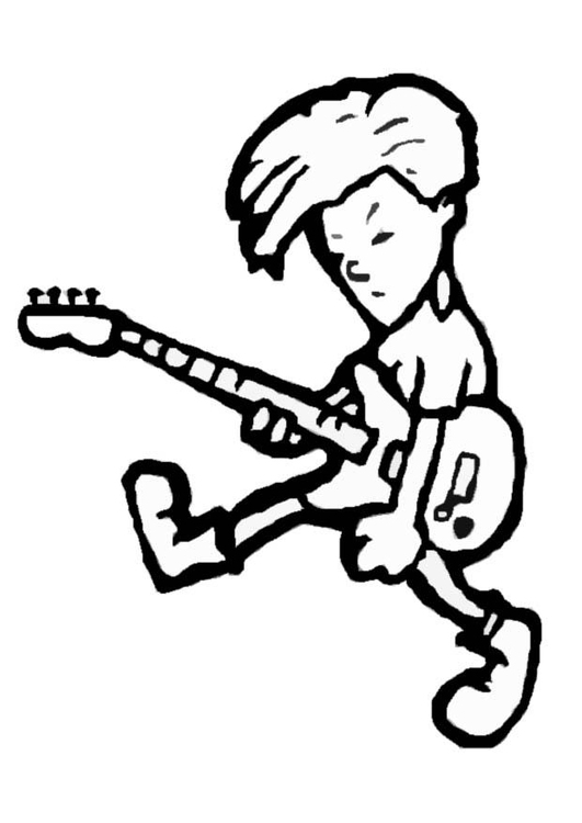 Coloring page rock musician