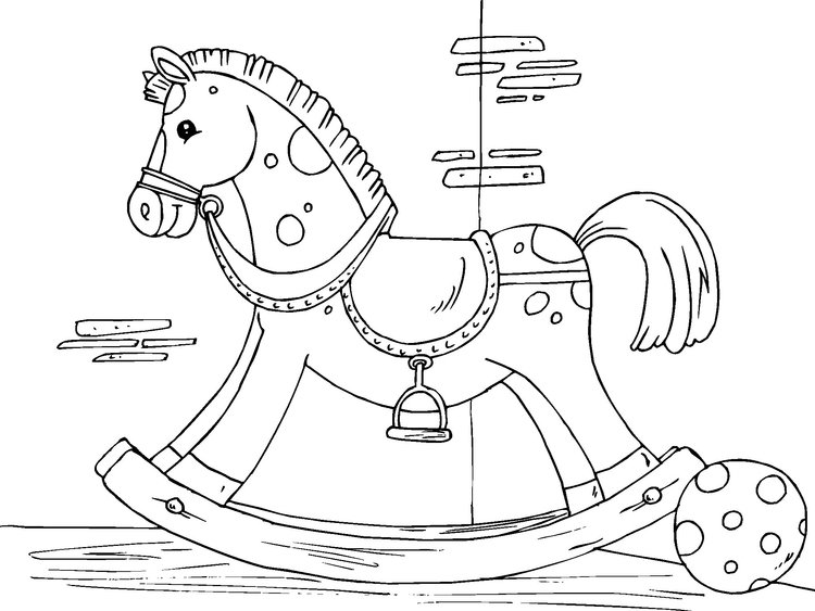 Coloring page rocking horse