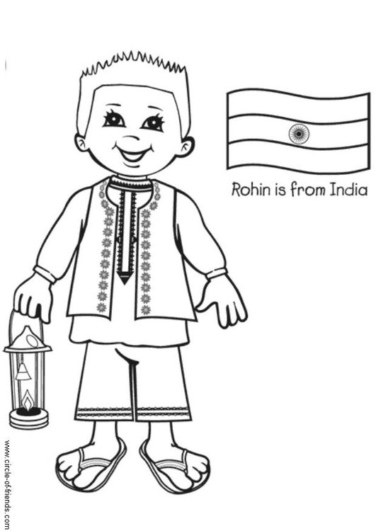 Coloring page Rohin from India