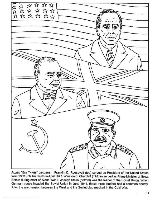 Coloring page Roosevelt, Churchull, Stalin