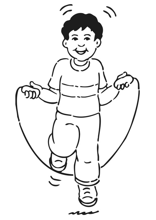 Coloring page rope skipping