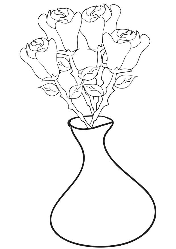 download large image - Coloring Pages Roses A Vase