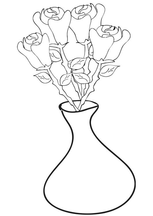 roses in vase - Coloring Pages Roses A Vase