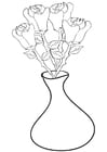 Coloring pages roses in vase