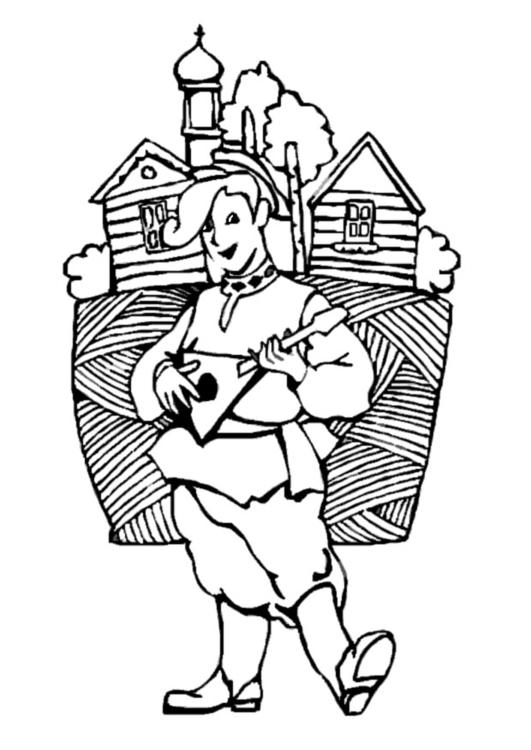 Coloring page Russian musician