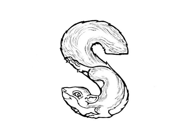 Coloring page s-squirrel
