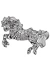 Coloring page saddled horse