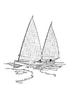 Coloring page sailboat