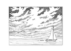 Coloring page sailing boat at the shore