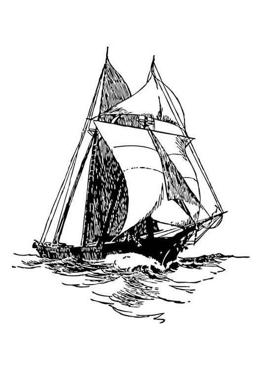 Coloring page sailing ship