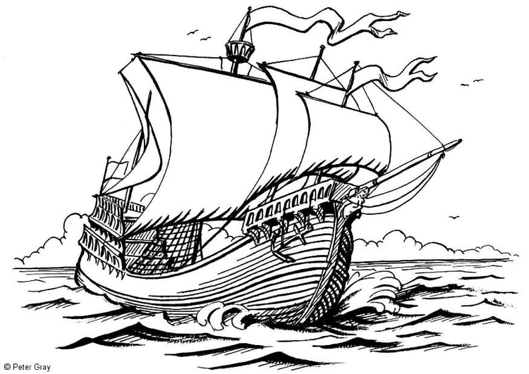 Coloring page sailing vessel