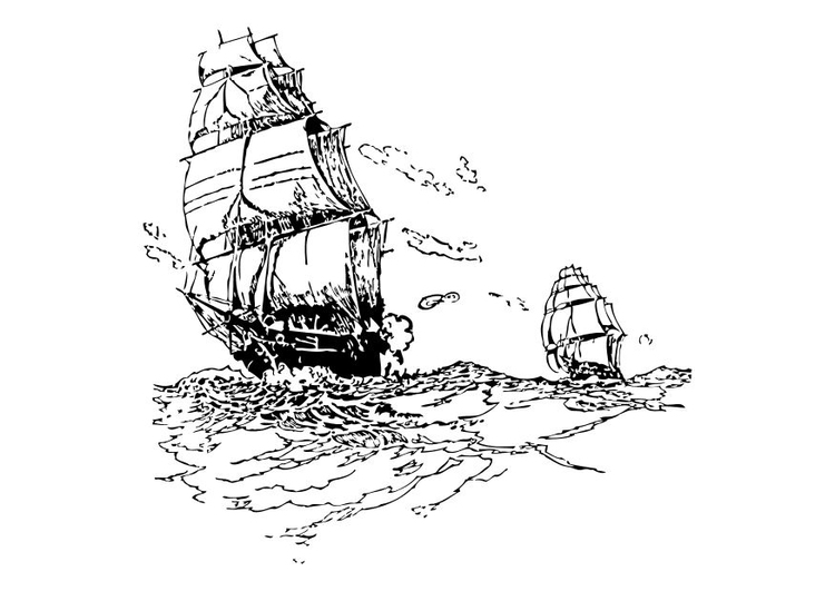 Coloring page sailing vessels