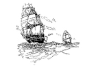 Coloring pages sailing vessels