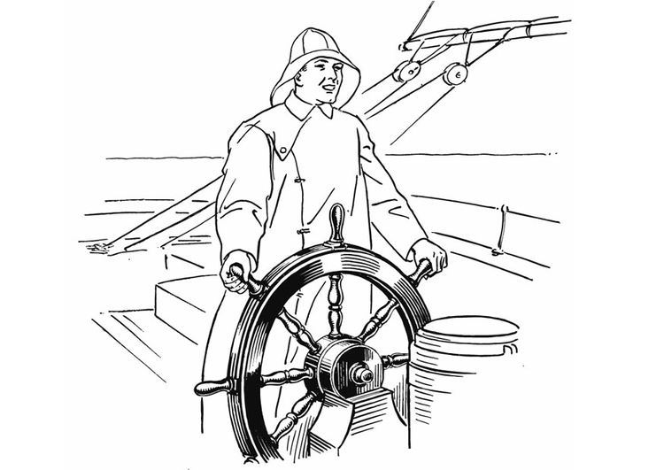 Coloring page Sailor at the wheel