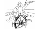 Coloring pages Sailor at the wheel