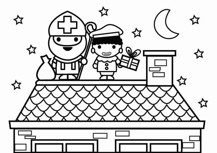 Coloring page Saint Nicholas and Black Pete on the roof