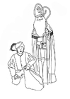 Coloring page Saint Nicholas and Black Pete