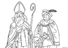 Coloring pages Saint Nicholas and Black Peter