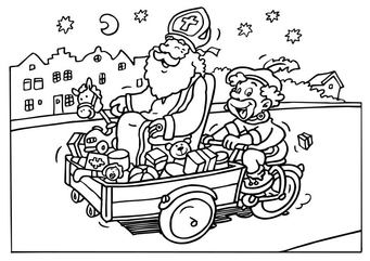 Coloring page Saint Nicholas and Black Peter