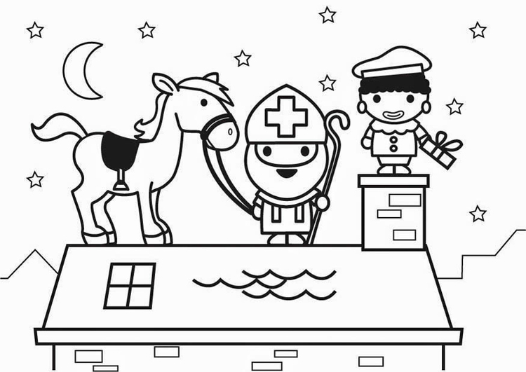 Coloring Page Saint Nicholas And Horse On Roof Img 26433