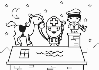 Coloring page Saint Nicholas and horse on roof